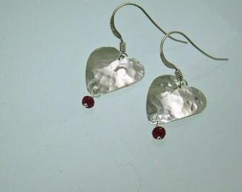Silver Heart Earrings, Ruby Dangle Earring, Sweetheart Jewelry, Gift for Her, Sparkeling Earring, Silver Dangle, Lightweight Earring