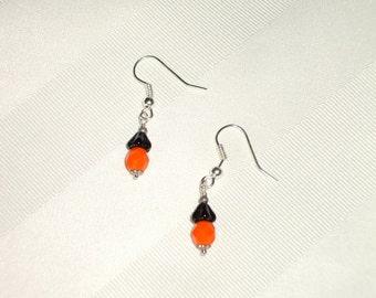 Orange and Black Earrings