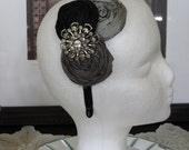 Trio of Silk Rosettes Headband in Black, Silver and Grey with Upcycled Vintage Brooch