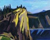 "Crater Lake, Original Painting, Landscape Art, 8 x 8"" x 3/4"" Cliffs National Parks Oregon, OR Nature"