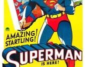 """Superman Cartoon Movie Poster Print  13""""x19"""" - Vintage Animation Movie Poster - Max Fleischer Cartoon - Superhero figure"""