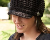 Women's Brimmed Beanie - Black - Made to Order