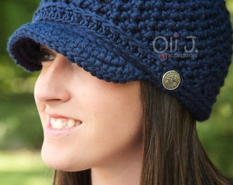 Women's Brimmed Beanie - Navy Blue - READY TO SHIP