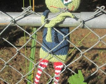 BEWARE Zombie Zach hand knit soft toy friend - 100% cotton original plush monster friend, featured in Stuffed magazine, Autumn 2015