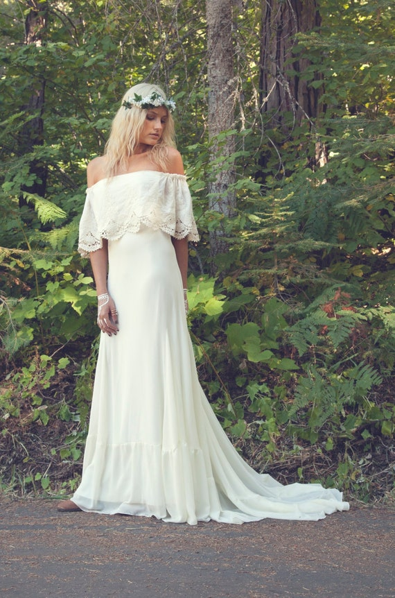 Bohemian wedding dress 1970s hippie bohemian by Hippie vintage wedding dresses