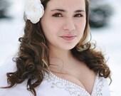 Ivory Bridal Hair Flower PEARL  Light Ivory Fabric Flower Hair Accessory