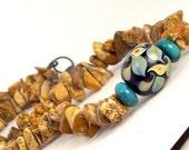 Jasper Murano Türkis Collier-set, Sand schwarz Türkis, natürliche Materialien, Boho, rustikal, Rockhound: Stream Of Consciousness