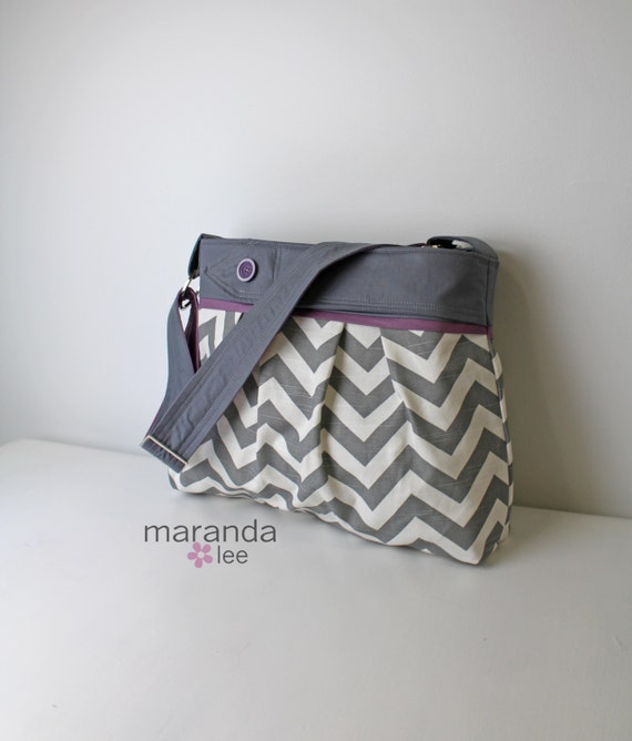 items similar to stella chevron diaper bag large grey chevron with gray accented with lavender. Black Bedroom Furniture Sets. Home Design Ideas