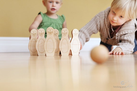 personalized bowling set with penguins  - 6 pin organic wood skittles, classic heirloom toy set for toddler and preschooler, organic finish