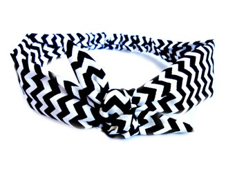Rockabilly Chevron Tie Headband, Black and White Retro Head Scarf, Hair Scarves Black Pinup 1940s