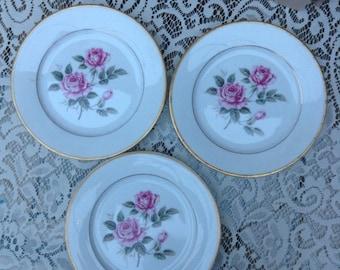 Vintage plates, floral plates x 3