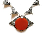RESERVED for Kathleen end May 19th Antique Necklace Carnelian Marcasite Sterling Edwardian