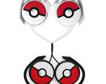 Pokemon Gift for her custom Pokeball headphones earphones gift for him birthday gift for gamer geek sound black red video game accessories