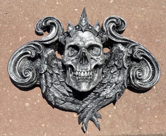 Queen Calavera Wall Plaque, Pewter Finish