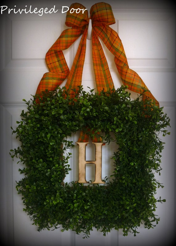 Fall Wreath. Harvest Square Boxwood Wreath with Woodfired Monogram Letter of Your Choice and Exceptional Harvest Bow.  Uptown with a Spunk.