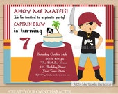 Custom pirate birthday invitation, boy pirate printable invite with custom character to resemble the honored one.  (DIGITAL FILE)