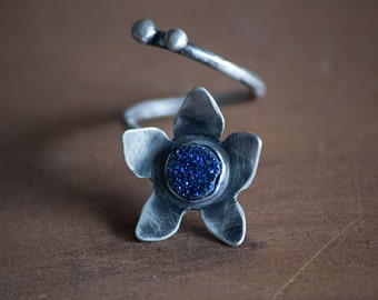 RESERVED for Yang-Forget Me Not Flower Sterling Silver Ring-Druzy Blue Titanium Flower Ring-Forget Me Not Ring-Dark Romantic Jewellery