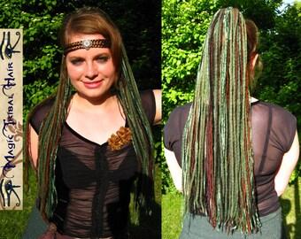 Forest ELF DREAD FALLS Renfair Fantasy yarn hair falls 112 dreadlocks 24''/ 60 cm Larp costume accessory Fairy wig Tribal Fusion Belly Dance