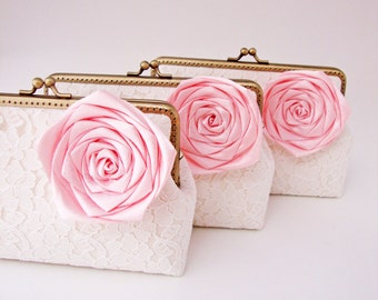 Personalize Bridesmaid Gifts Set of 3 Lace Clutches and Pink Silk Rose Flower brooches