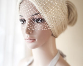 Mini Bridal Birdcage Veil, Ivory, Small birdcage Veil, Blusher Veil White, Birdcage Veil - June mini
