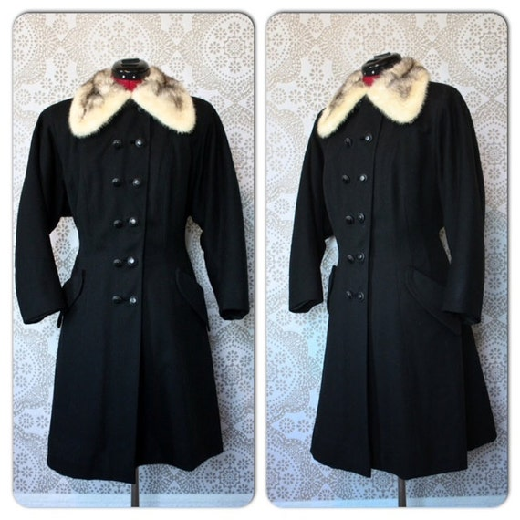Vintage 1940's 50's May Company Black Fit and Flare Princess Coat with Fur Collar Medium