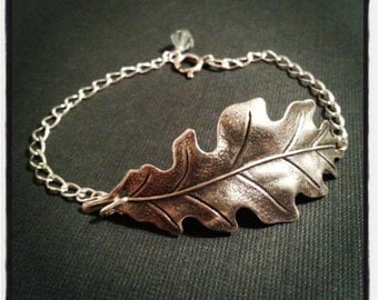 Silver Leaf Bracelet - Oak Leaf Bracelet - Silver Chain and Swarovski Crystal