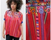 RESERVED Guatemalan Red HUIPIL Poncho Cotton Embroidered Blouse with Blue Velvet