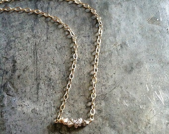 Rough Diamond Necklace, 14k Gold filled