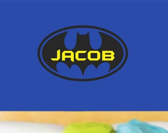 Batman Wall Decal Boy Name Bedroom Vinyl Lettering Wall Decor Teens Kids Children Boys Decals Baby Nursery Toddler Personalized Custom Decor