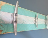 Cottage Chic Recycled Boat Cleat Towel Hooks Turquoise and White Upcycled Nautical Seashore Decor Ocean Decor Beach Decor Lake House