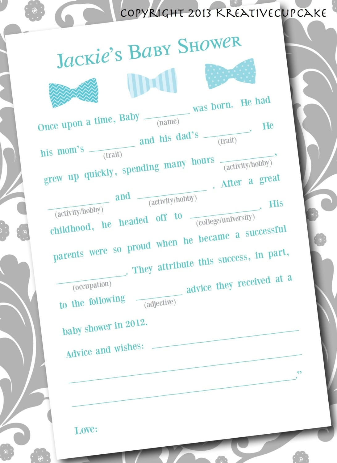 baby shower boy mad lib game and guestbook by kreativecupcake