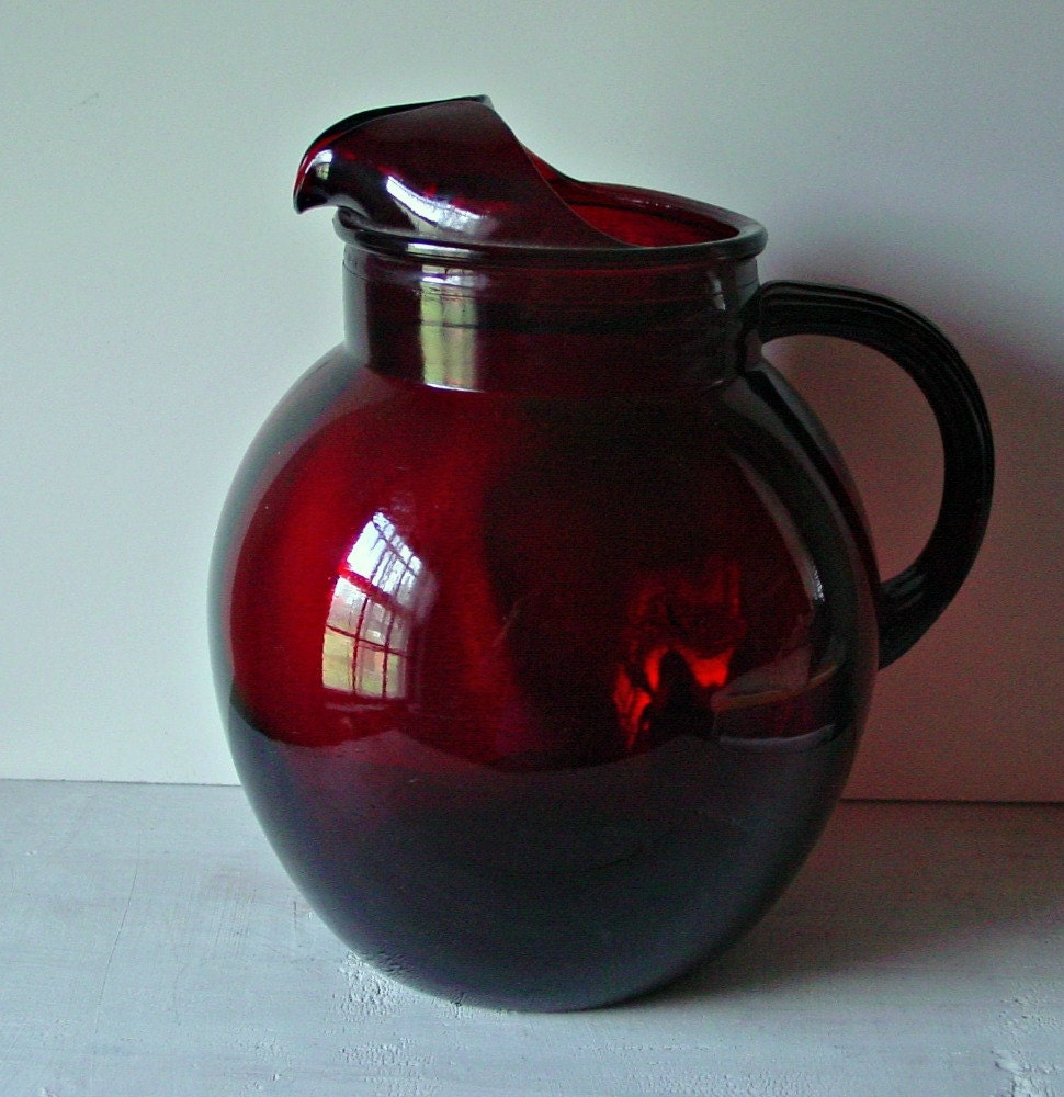 Vintage Ruby Red Glass Pitcher Serving Pitcher