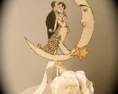 Art Deco Wedding Cake Topper - Gold Glitter-Vintage Inspired - Featured in Brides Magazine