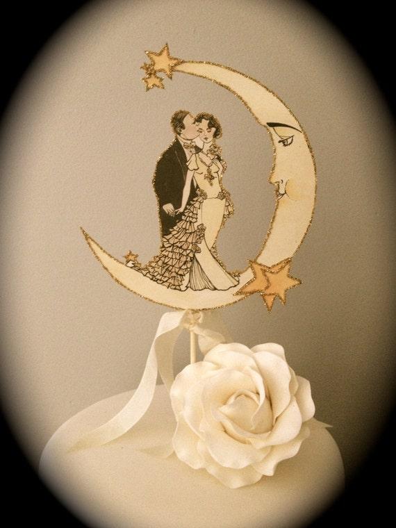 Art Deco Wedding Cake Topper Moon Outlined in Gold Glitter