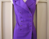 1960s vintage purple h bar c western vest pants suit set size xs extra small 0 2 4