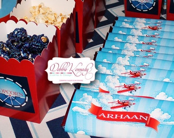 LIttle Aviator Printable Birthday Chocolate Bar Wrappers - Red and Blue - DIY Print - Airplane Party