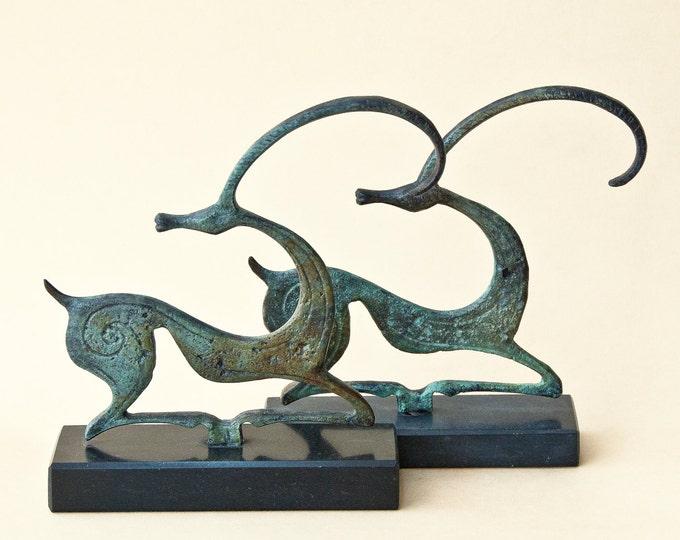 Featured listing image: Metal Ibex Sculpture, Wild Goat, Metal Art Sculpture, Constellation Capricorn, Museum Quality, Geometric Greek Art, Art Decor, Art Gift Idea