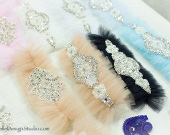 Champagne Wedding Garter Belt- tulle, rhinestones, Blue Garter Belt, something Blue, bridal shower gift, lingerie