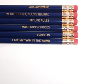 Pefect Pitch pencil set  6 six pack pencils in navy blue.