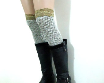 Grey   leg warmers - Brownish Elastic Lace - Legwarmers Boot Socks - upcycled recycled.