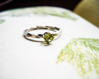 Wrought Silver Ring in Peridot and Sterling Silver