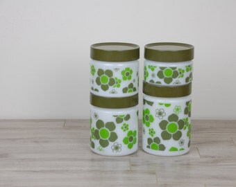 Anchor Hocking Fire King Milkglass Milk Glass Big Green Hippie Flower Canister Jars