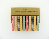Mini Clothespin Magnets. Small Clothespins. Small Clips. Set of 10. Black Triangles, Yellow, Fucshia and Aqua.