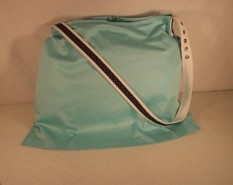 Turquoise Tote Bag, Upcycled Tote with Black Polka Dot Strap