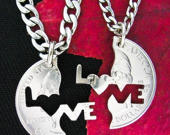 Love Puzzle Necklaces for couples, Interlocking Quarter, hand cut coin