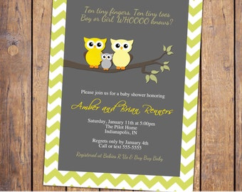 owl baby shower invitations, gender neutral baby shower invitation, modern baby shower invite, chevron, Digital, Printable file (item292)
