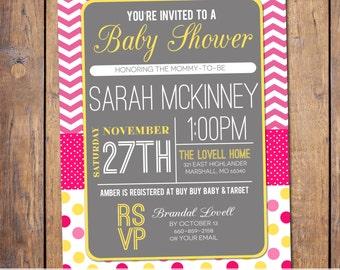 Chevron Girls Baby Shower Invitations, modern Baby Shower invites, polka dots, pink yellow  grey baby shower Invites (item262)