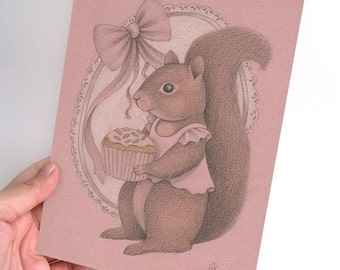 ON SALE 50% DISCOUNT, Original Pencil Drawing, Whimsical Illustration of a Squirrel and a Cupcake, Children's Nursery Art, girls room Decor