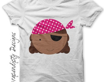 Pirate Girl Iron on Transfer - Kids Clothing Tshirt / Pirate Pink Birthday Party Shirt / African American Pirate / Custom Baby Clothes IT168