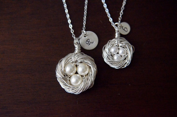 Mother Daughter Necklaces with Initials - Silver Birds Nest Necklaces with 3 Pearls